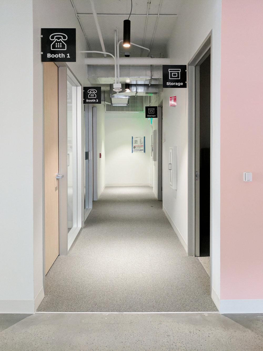 Hallways with Storage Rooms and Phone Booths San Francisco Office