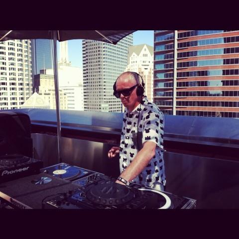 Mr. C tearin' it up on the 1s and 2s at on the roof at The Standard Hotel in LA