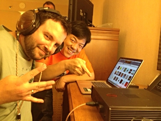 Chillin' with my boy Warren Chi, my partner in Audio360.org (we're all on Hiatus there right now) and T.H.E Headphonium. He'salso a Moderator for HeadFi.org +Canjam teammate. We were gathered in our hotel room at the Denver Tech Center Marriott just before RMAF 2014: Checkin' out the then brand-new Cavalli Audio Liquid Crimson w/ my trusty Audeze LCD-XCs and Double Helix Cables. All we had for a DAC was aCEntrance DACport LX, paired with my MacBook Pro SSD runnin'Amarra Symphony, and the system sounded splendidly musical: Tight, extended, and enveloping... I still think the Liquid Crimson is one of the most under-rated hybrid headphone amps out there today. But, this is about RMAF - so please forgive my tangents.