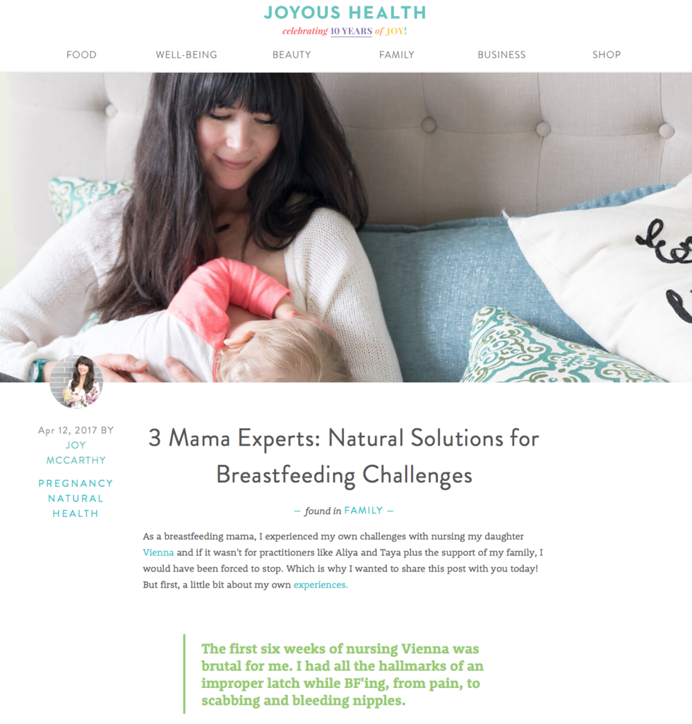 - Click here:3 Mama Experts: Natural Solutions for Breastfeeding ChallengesJOYOUS HEALTH, April 12th, 2017