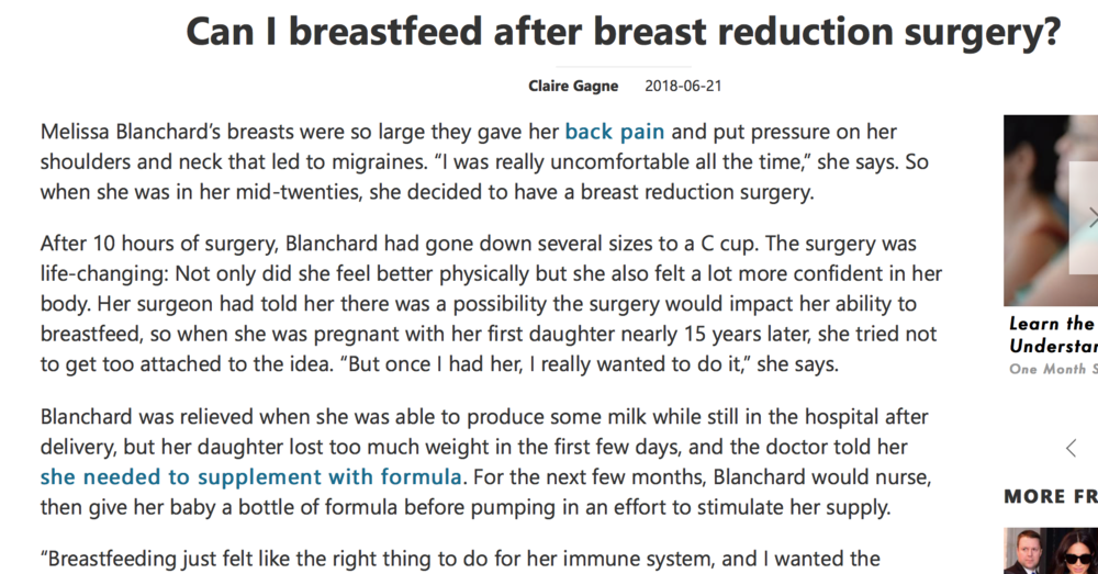 - Click here: Can I breastfeeding after breast reduction surgery. MSN.COM / TODAY'S PARENT - 21 June, 2018
