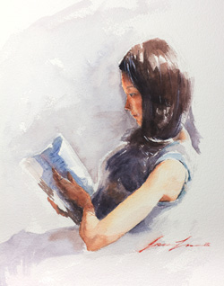 Afternoon Read, 2015, watercolor