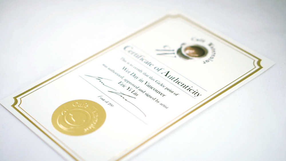 Earch certificate has our unique embossed foil on it