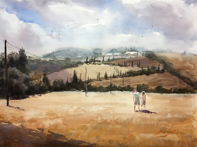Tuscany, Italy 18x24 commission piece.