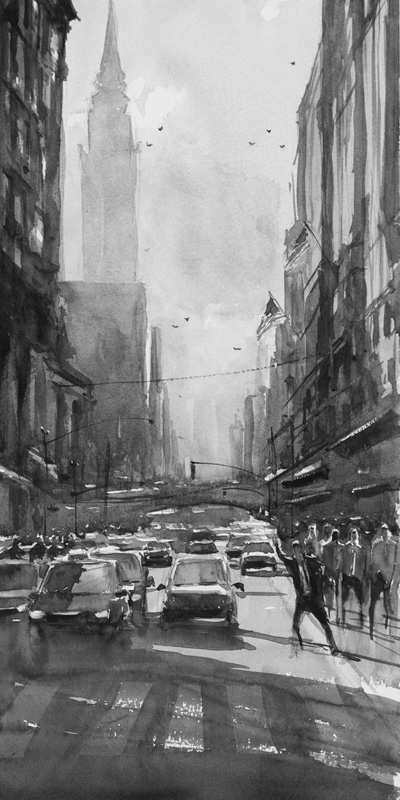 A very busy NYC street. When you look on the top half of the painting, you can still see how the buildings fade into distance.