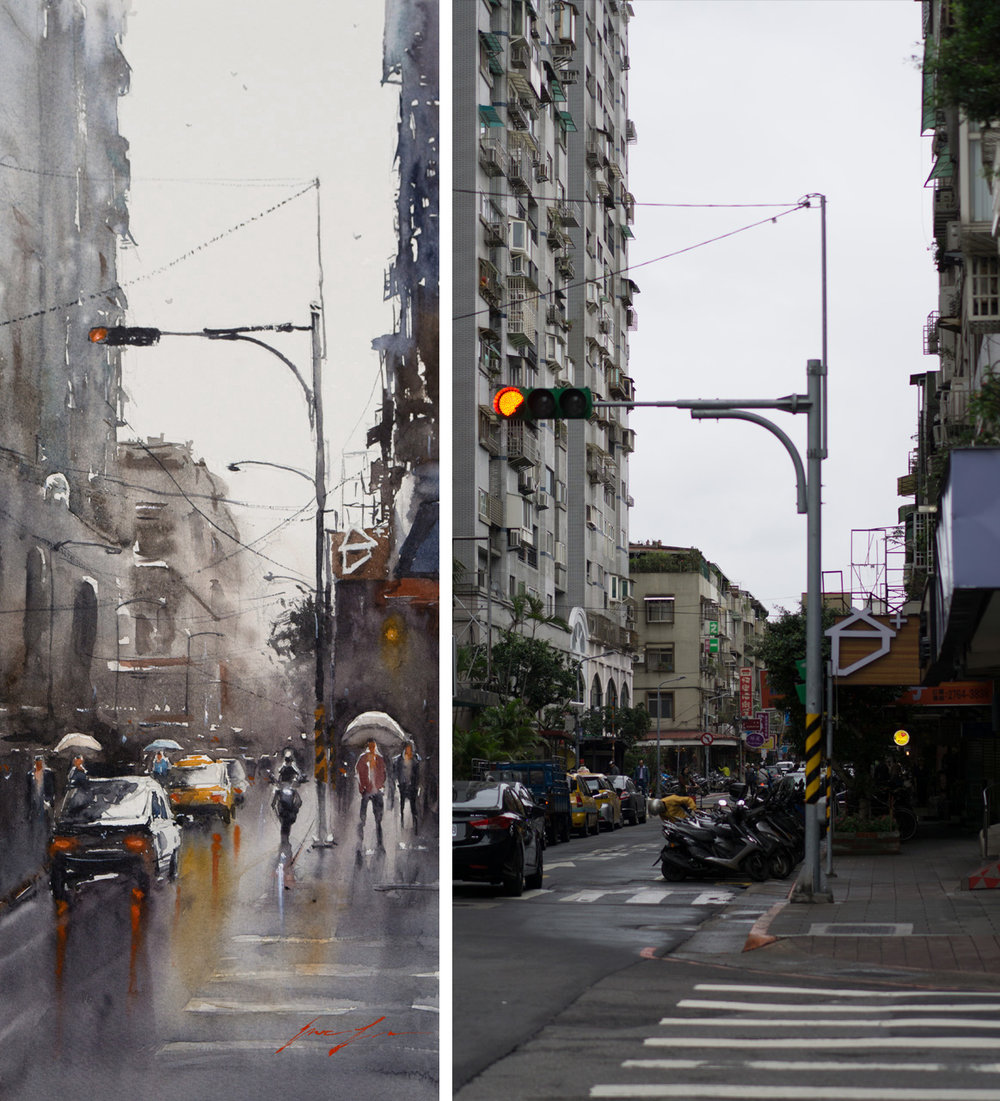 Taipei, wet street - 8x20 (reference photo taken by me on the right)