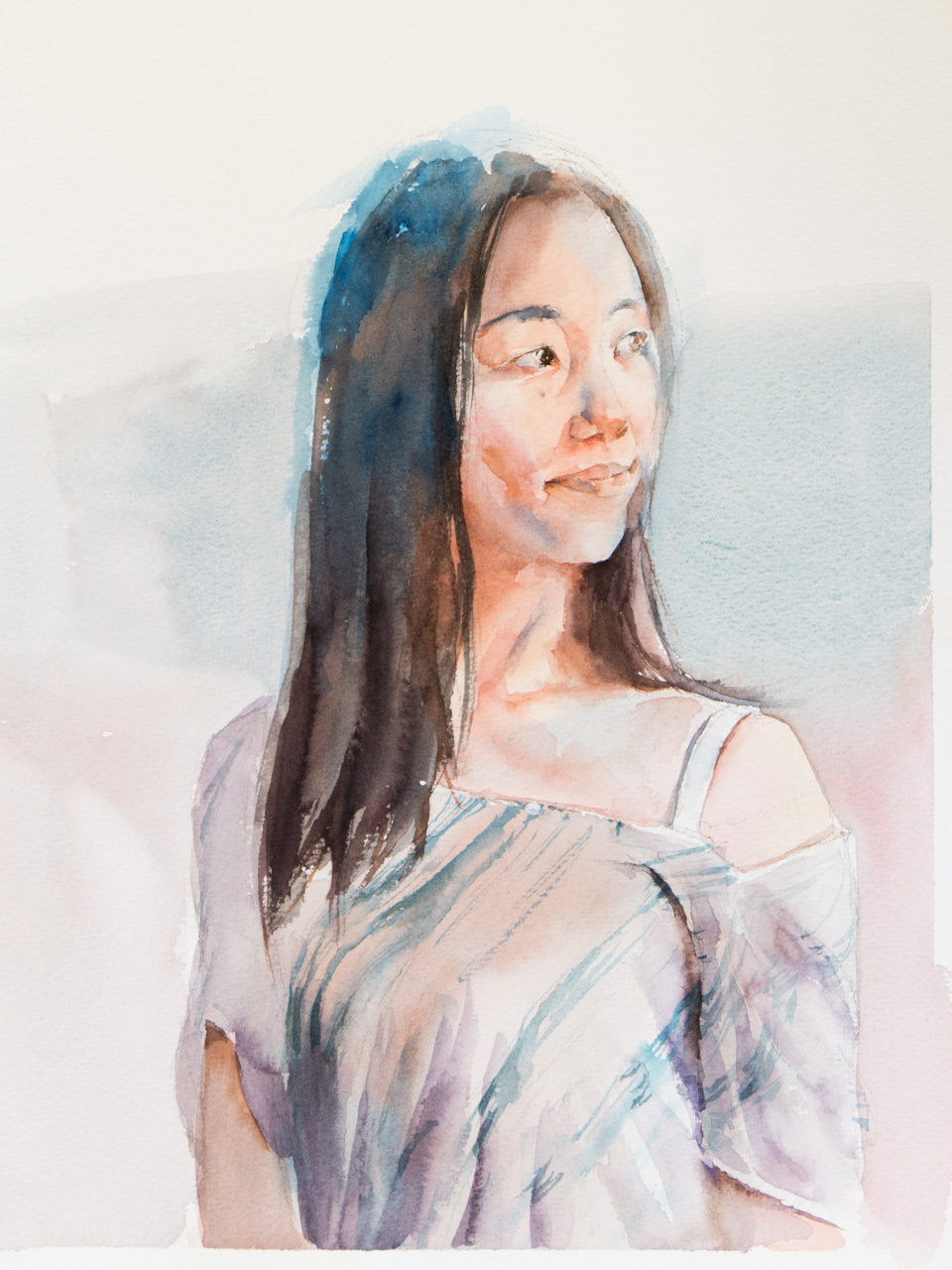 A recent portrait of my wife. Painted while she was away.