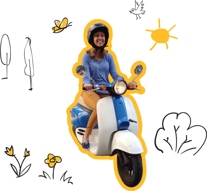 Evgeniya riding a scooter