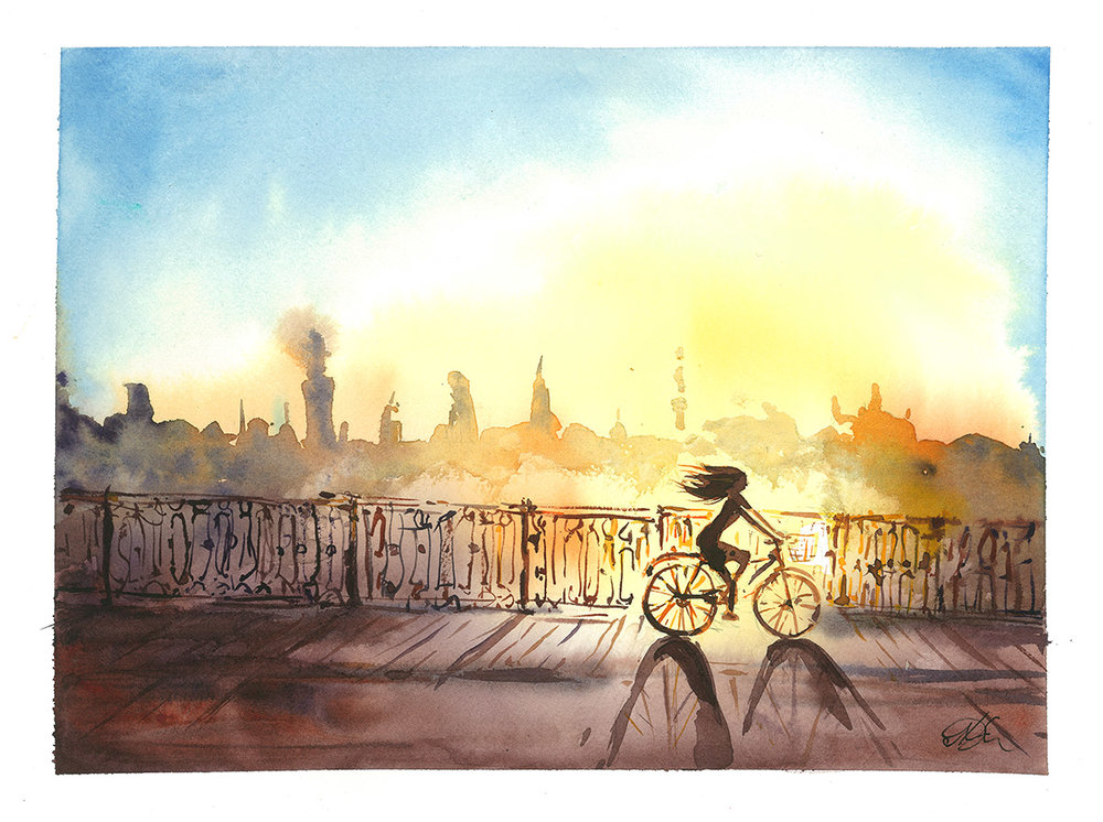 Sunny girl on a bike Watercolor, paper, 32x24 cm, 2017 SOLD!