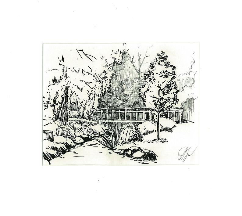 Summer in Stromovka park Paper, ink,15 x 20 cm, 2016 Price: USD 70