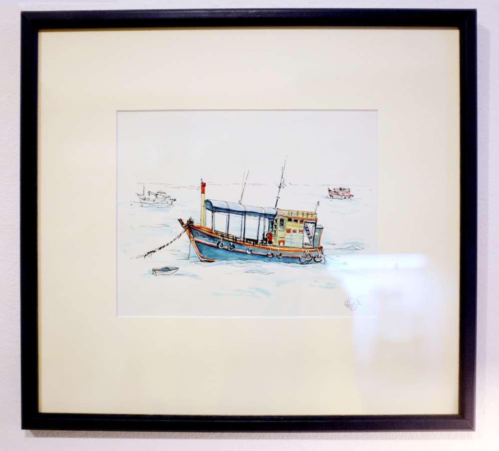 Thai boats 1. Paper, ink, markers, 15 x 20 cm, 2016 Price: USD 86