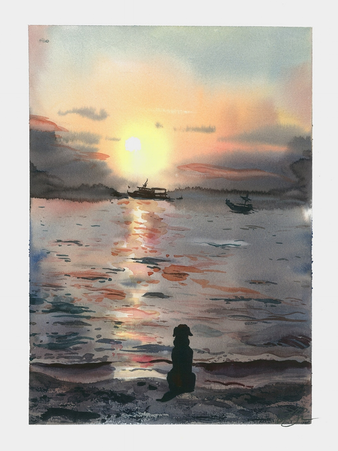 Dog watching sunset Watercolor, paper 32x24 cm, 2017 SOLD!