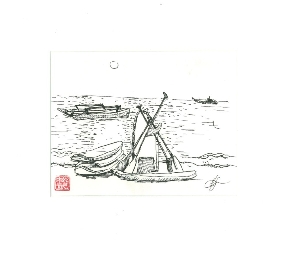 Boats at Koh Tao Paper, ink, 15 x 20 cm, 2016 Price: USD 70