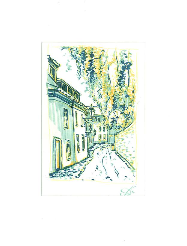 Novy Svet 2, Prague Paper, ink, markers, 15 x 20 cm, 2016 Price: USD 86
