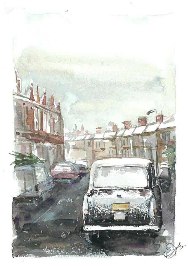 Winter London Watercolor, paper, 32x24 cm,2017 Price: USD 150