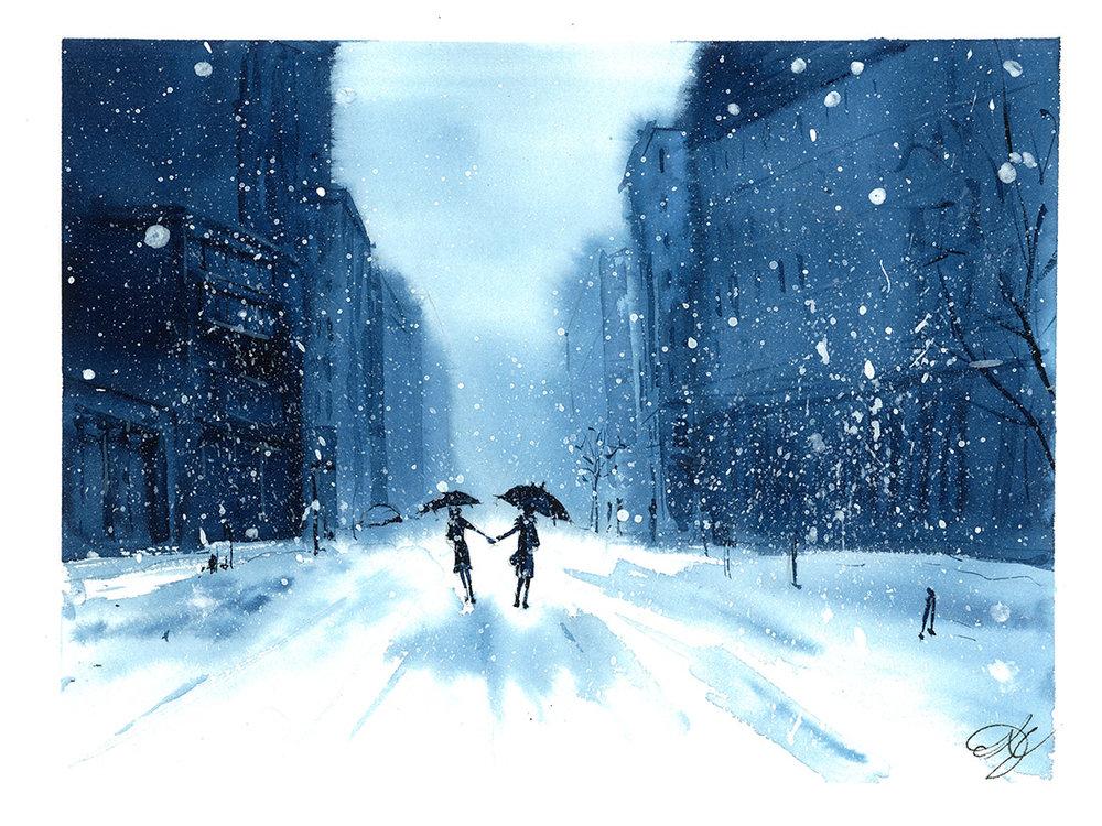 Indigo couple in snow SOLD!