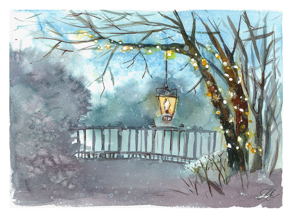 Christmas lantern Watercolor, paper, 32x24 cm, 2017 Price: USD 150
