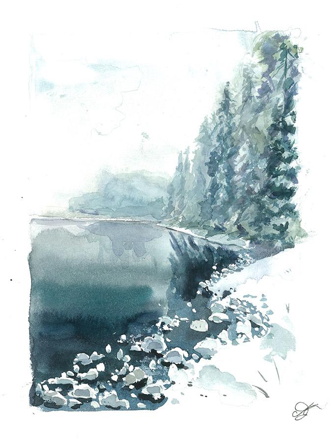 Winter lake Watercolor, paper, 32x24 cm,2017 Price: USD 150