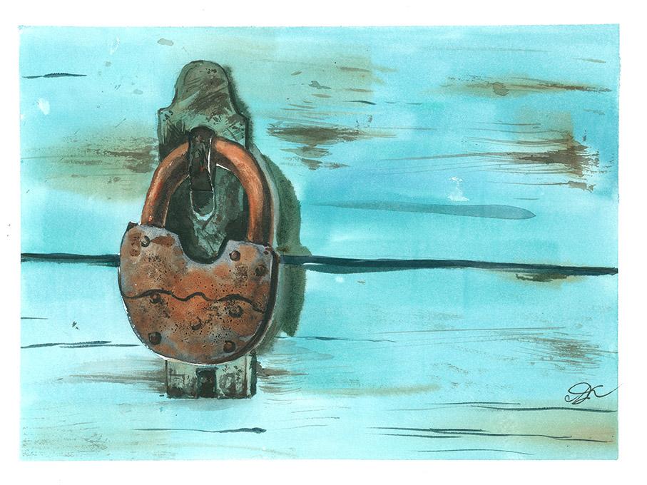 Rusty lock Watercolor, paper, 32x24 cm,2017 Price: USD 150