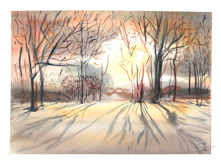 Almost spring sunset Watercolor, paper, 32x24 cm 2017 Price: USD 150