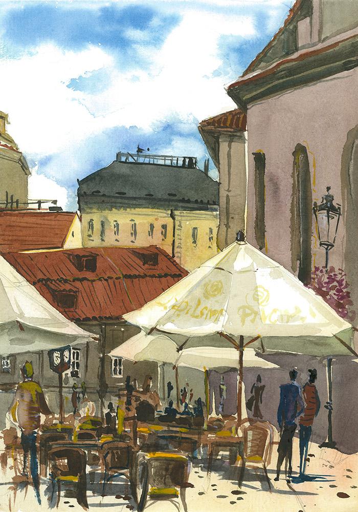 Prague Bethlem Square Watercolor, paper, 24x32 cm, 2017 Price: USD 150