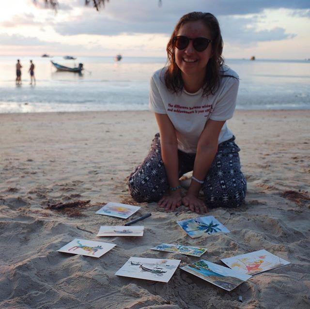 """Ура, новости! Я придумала маленький флешмоб, назовем его «Открытки с пляжа». 🐠Дело в том, что на остров Тао я приехала с катастрофически малыми запасами акварельной бумаги- всего лишь 12 листочков в микро-склейке, размера А6. Размер оказался неожиданно идеальным, чтобы просто расслабиться и рисовать от души сразу кистью, сразу пальмы, кораблики и незнакомцев, чего размениваться, правда? В общем я хочу эти акварельные открытки послать вам, мои друзья. Давайте сделаем небольшую лотерею? Все кто подпишется на мою рассылку на сайте, принимают участие в розыгрыше. Нужно пройти по ссылке в моем профиле и подписаться на мои новости. 12 победителей я выберу случайно, напишу им личные добрые пожелания и отправлю уникальную открытку прямо с острова! 🌴Это оригиналы моих работ, такого я еще никогда не делала!😜 Ну что, вы участвуете? Напишите мне в комментариях!  Great news, I've come up with a new-way to do a giveaway. I will call it """"Greetings from the beach""""🐠 The thing is I came to a magicak Tao island with ridiculously small ammount of watercolor paper, a tiny notebook, a size of a postcard. It surprisingly worked great for just relaxing and painting bravely straight with the brush (no sketch).I've painted palms, Thai boats, strangers. So I want to send thise watercolor cards to you, my friends. Let's make a little lottery, everybody who subscribes to my newsletter on my website will participate. I will randomly pick 12 people, write you a personalized message and send you the card right from the tropical island! Those are my original artworks. I've never done it before!😜 You should just go by the link in my profile and subscribe to my newsletter using the pip up form.  Are you in or what? Tell me in comments below! #wow_giveaway #wowyellow_art #wow_watercolor #wowyellow_life"""
