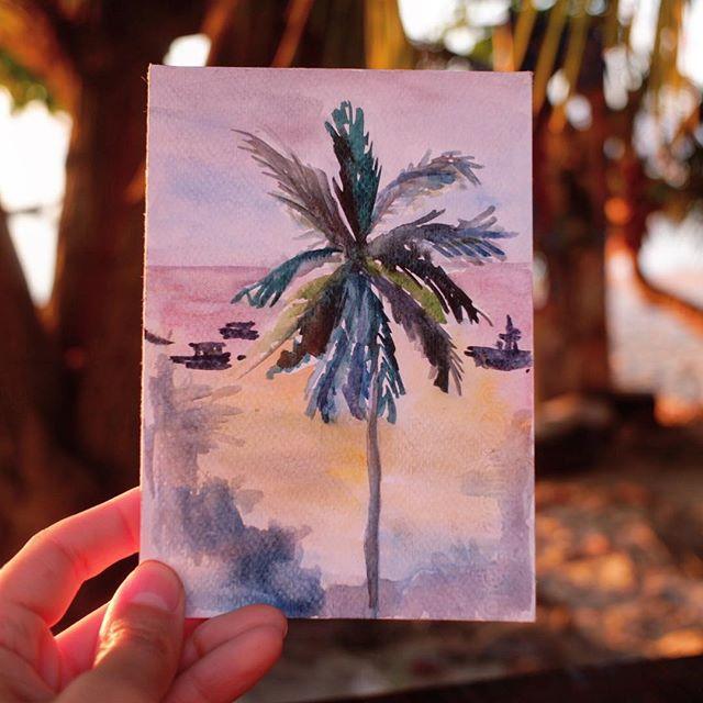 """Спасибо вам, что вы так позитивно среагировали на идею про """"открытки с пляжа», я так счастлива и вдохновилась что нарисовала сегодня еще кораблик и еще пальму.  И даже, о чудо, нашла в местном супермаркете еще немного бумаги (она там была на самой дальней пыльной полке)  Итак, как же получить открытку с пляжа? 1)зайти на мой сайт (в шапке профиля) 2) открыть всплывающее окно «i'll send you a postcard!"""" 3)ввести свой e-mail адрес. Готово! Через несколько дней я случайном порядке выберу 12 адресатов и пошлю им акварельные открыточки! Thank you for reacticg so positively to the idea of """"postcards from the beach""""! I am so happy and inspired that today I drew another ship and one more palm tree. And I even magically found some more paper in the local supermarket (it was on the lowest and the most dusty shelf) So, how to get a postcard from the beach? 1) go to my website (link in profile) 2) click on the pop-up form at the bottom 3) enter your e-mail address in a form. Done! In a few days I will randomly select 12 people and send them my watercolor postcards! #wow_giveaway #wow_watercolor #wowyellow_art  #evgeniyapautova"""