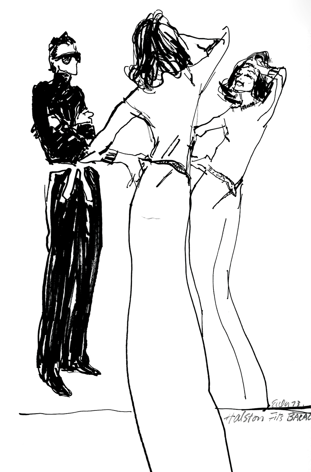 Joe Eula's illustration of Halston fitting Lauren Bacall in a long cashmere dress, 1973.