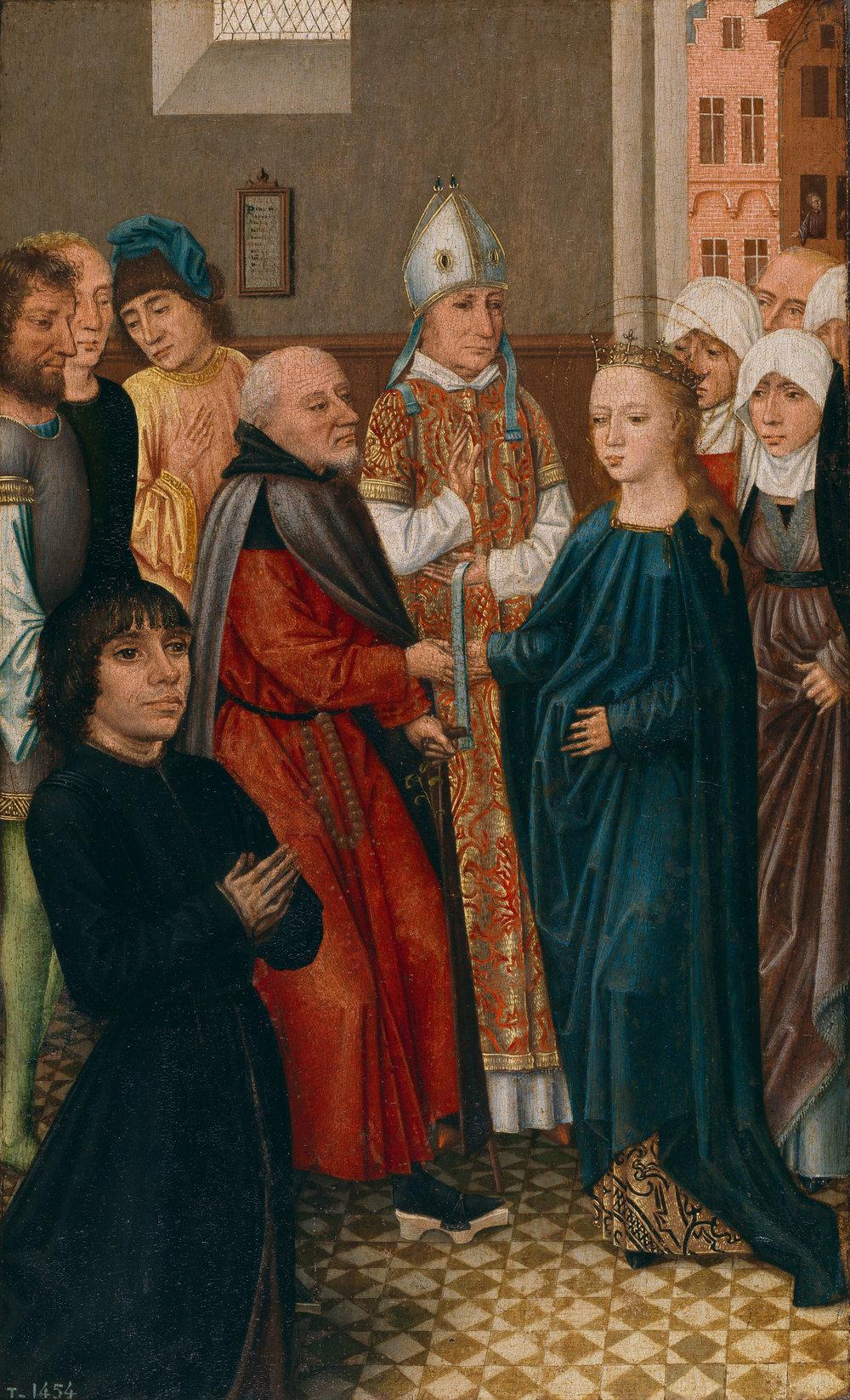 Los desposorios de la Virgen   Maestro de la Leyenda de Santa Catalina  1470-1500 Óleo sobre tabla. 45x29 cm. Madrid, Museo Nacional del Prado