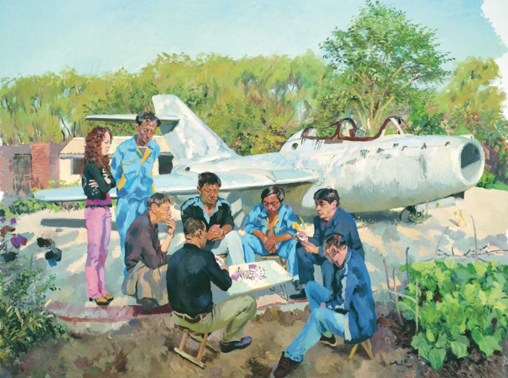 Liu Xiaodong,   Jincheng Airport  ,   2010   Oil on canvas   300   ×   400   cm