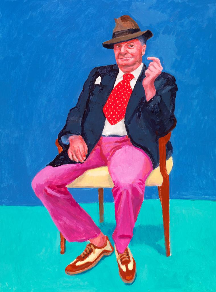 David Hockney RA,Barry Humphries, 26th, 27th, 28th March, 2015. Acrylic on canvas. 21.92 x 91.44 cm. © David Hockney. Photo credit: Richard Schmidt.