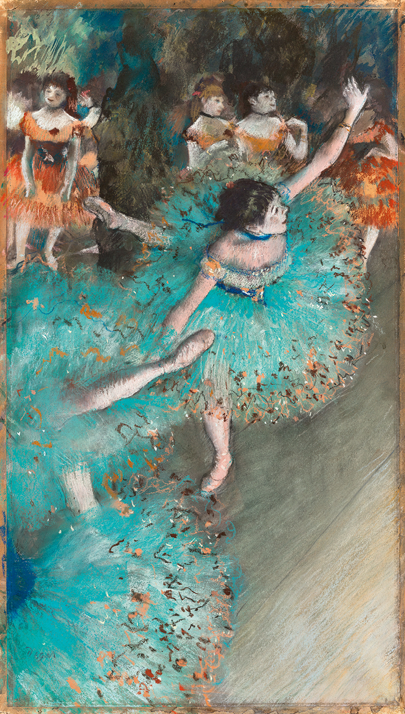 """Bailarina basculando"" (Bailarina verde)1877_1879 · Pastel y gouache sobre papel. 64 x 36 cm · Museo Thyssen-Bornemisza, Madrid."