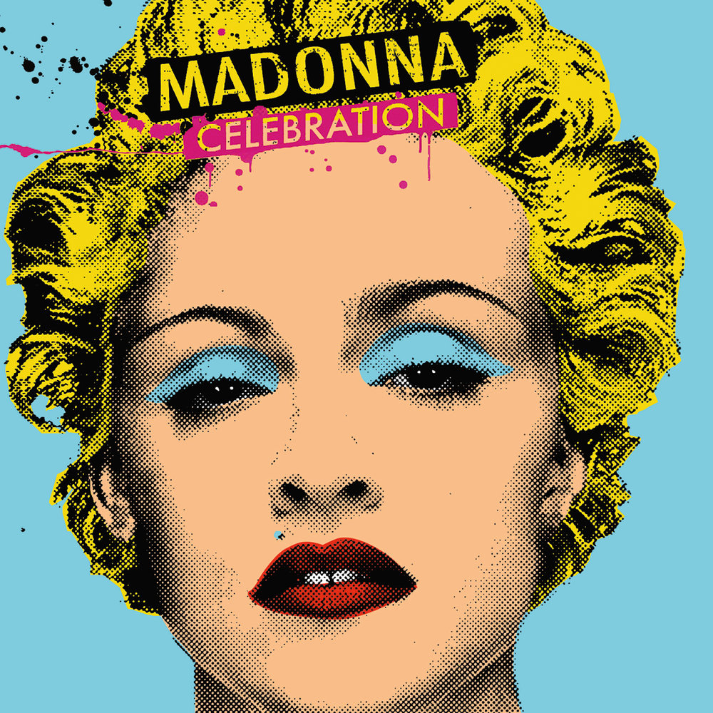 """Antonio de Felipe · """"Los caballeros las prefieren rubias y los artistas pop también"""", 2011· 150 x 150 cm · Serigrafia y acrílico sobre lienzo. Inspirado en Madonna """"Celebration"""" Warner Bros 2009."""