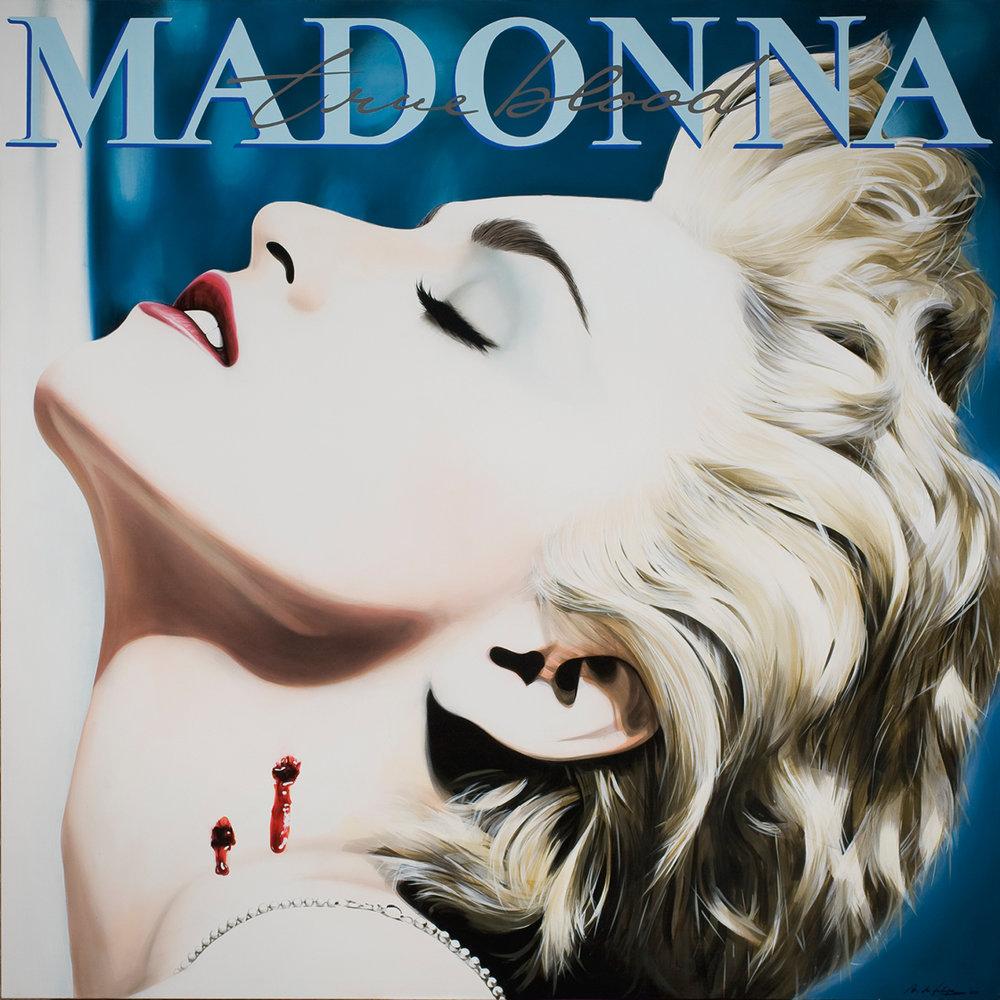 """Antonio de Felipe · """"True Blood"""" 2010 · Serigrafia y acrílico sobre lienzo · 162 x 162 cm. Inspirado en Madonna """"True Blue"""" Warner Bros 1986."""