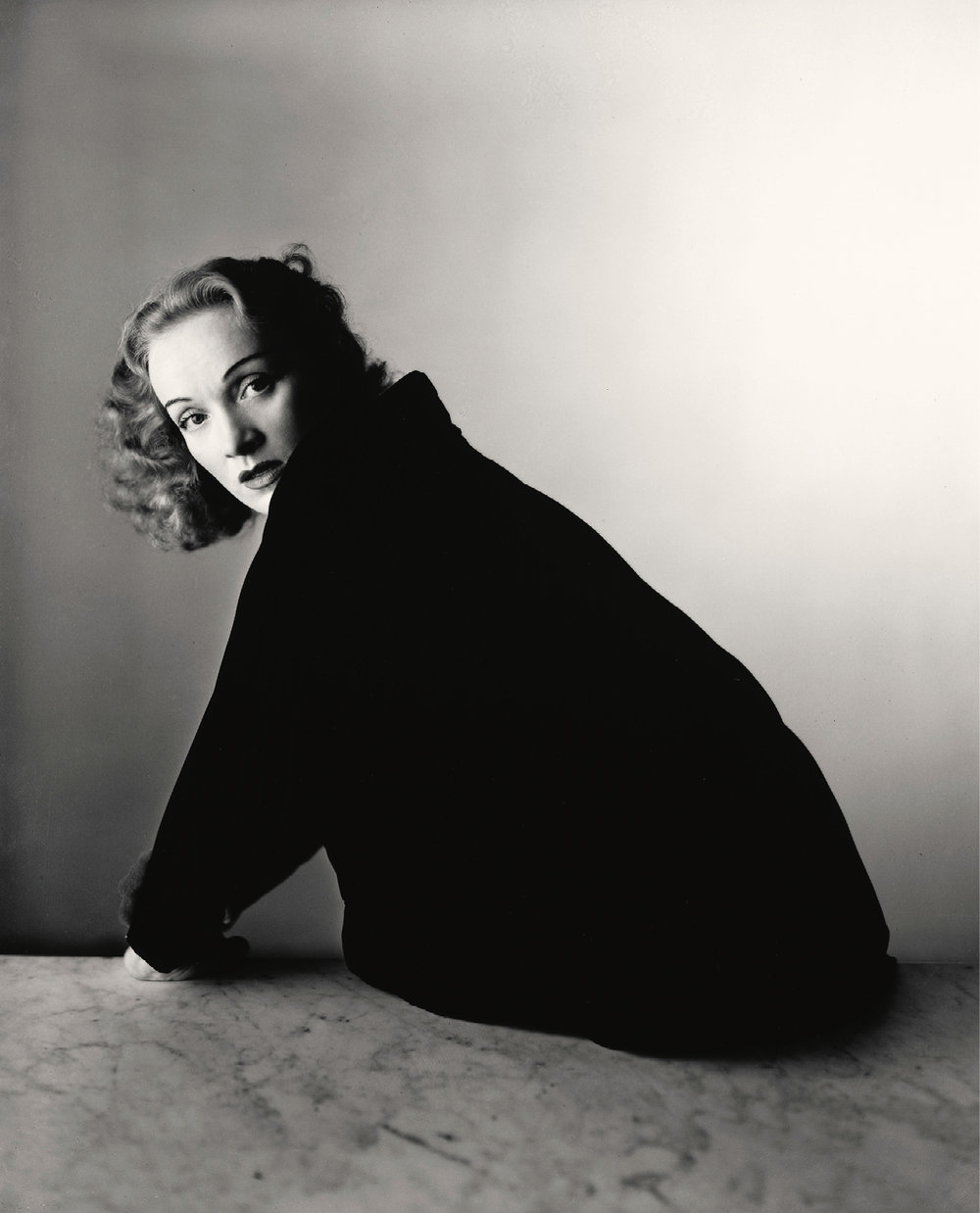 Irving Penn (American, 1917–2009) · Marlene Dietrich, New York, 1948. Gelatin silver print, 2000 · 10 × 8 1/8 in. (25.4 × 20.6 cm).  The Metropolitan Museum of Art, New York Promised Gift of The Irving Penn Foundation © The Irving Penn Foundation.