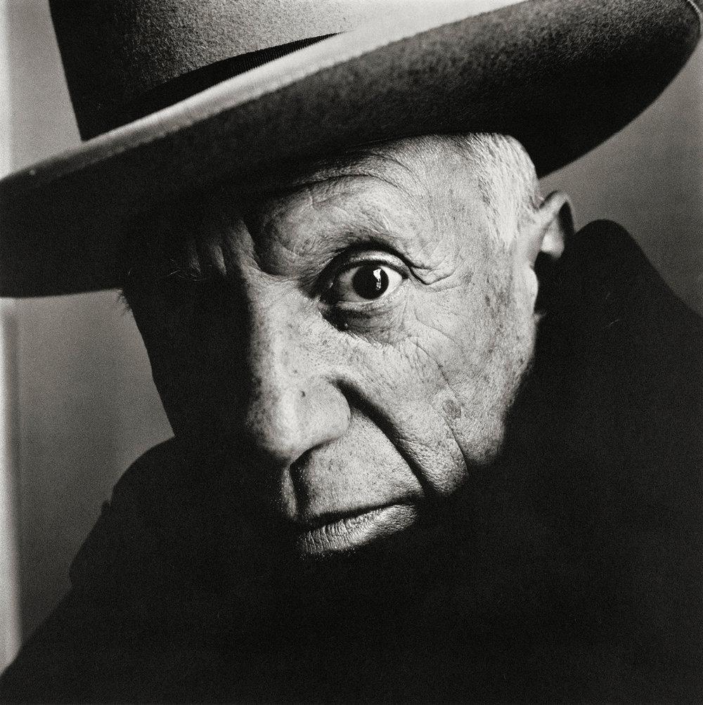 Irving Penn (American, 1917–2009)  Pablo Picasso at La Californie, Cannes, 1957. Platinum-palladium print, 1985 · 18 5⁄8 × 18 5⁄8 in. (47.3 × 47.3 cm).
