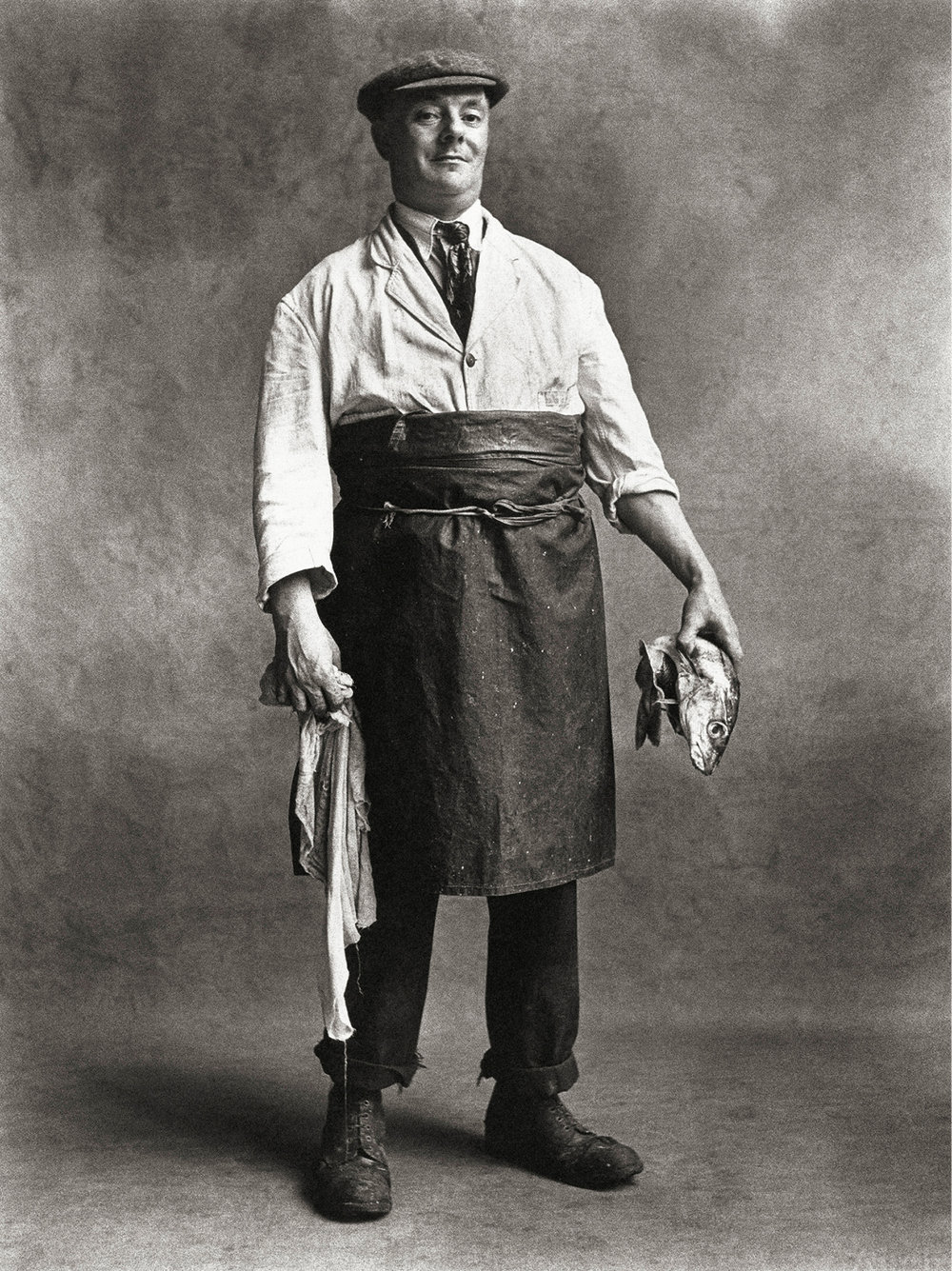 Irving Penn (American, 1917–2009). Fishmonger, London, 1950. Platinum-palladium print, 1976 · 19 3⁄4 × 14 7⁄8 in. (50.2 × 37.8 cm).