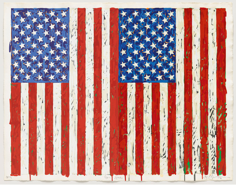 Jasper Johns (b. 1930), Flags I. Colour screenprint, 1973. Gift of Johanna and Leslie Garfield, on loan from the American Friends of the British Museum.   © Jasper Johns/VAGA, New York/DACS, London 2016. © Tom Powel Imaging.
