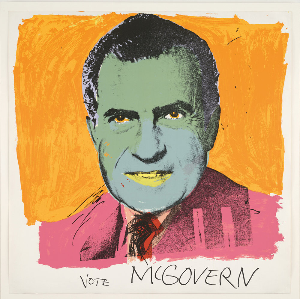 Andy Warhol (1928–1987), Vote McGovern. Colour screenprint, 1972. © 2016 The Andy Warhol Foundation for the Visual Arts, Inc./Artists Rights Society (ARS), New York and DACS, London.