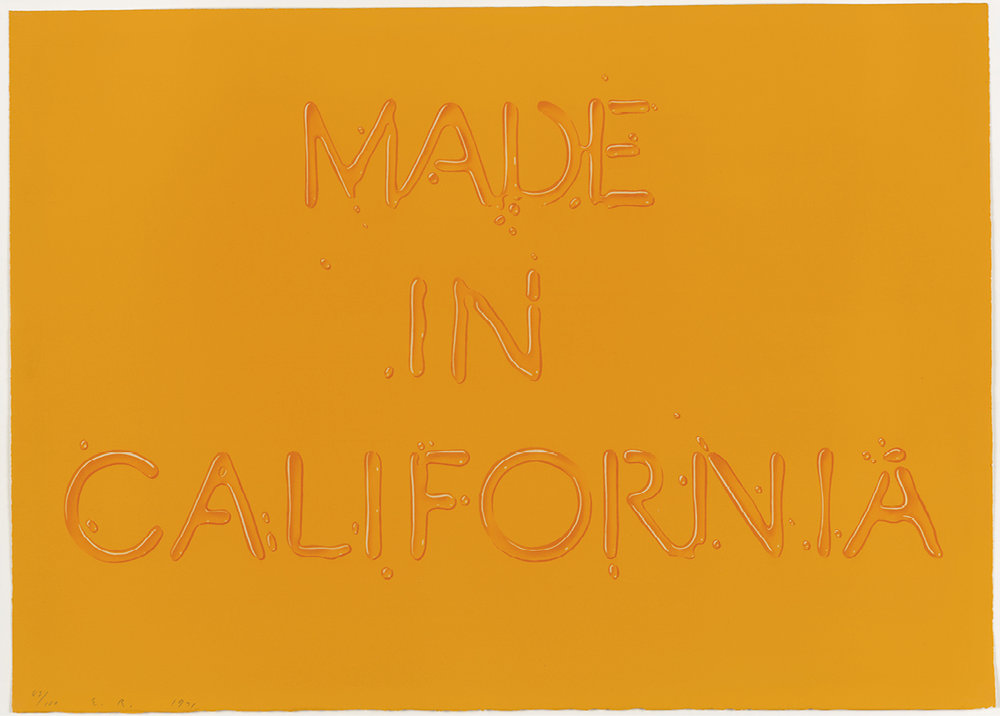 Edward Ruscha (b. 1937), Made in California. Colour lithograph, 1971. © Ed Ruscha. Reproduced by permission of the artist.