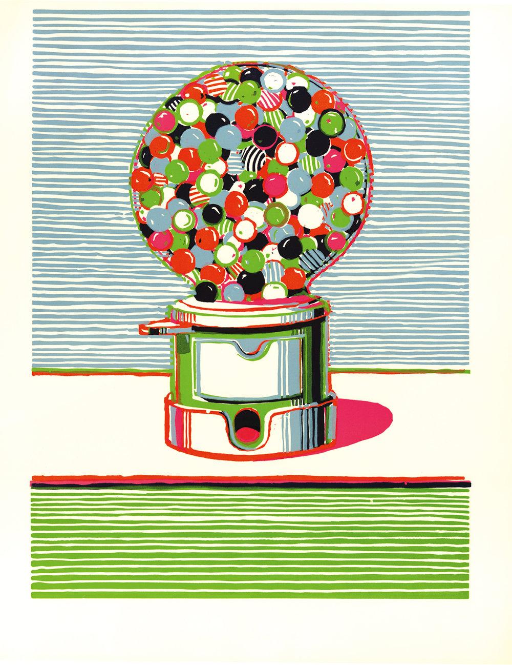 Wayne Thiebaud (b.1920), Gumball Machine. Colour linocut, 1970. © Wayne Thiebaud/DACS, London/VAGA, New York 2016.