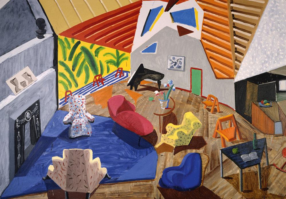 Large Interior, Los Angeles, 1988 · Huile, encre, papier collé sur toile · 183,50 x 305,40 cm · © David Hockney · Collection Metropolitan Museum of Art, New York.
