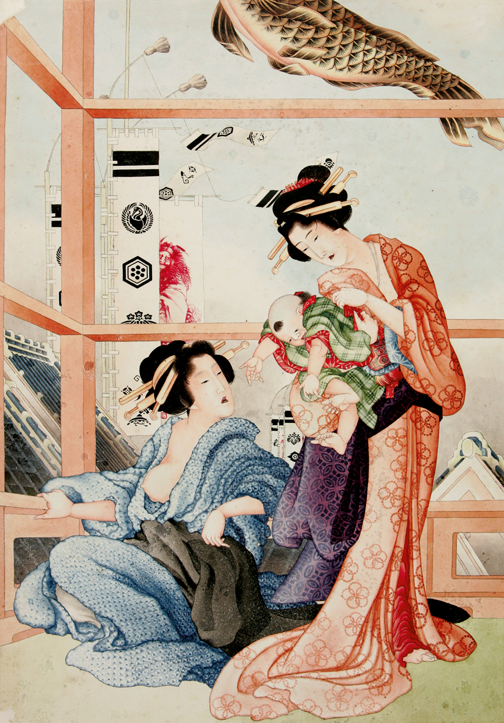 Attributed to Hokusai. Boys' Festival. Ink and colour on old Dutch paper, 1824-1826. Nationaal Museum van Wereldculturen, Leiden.