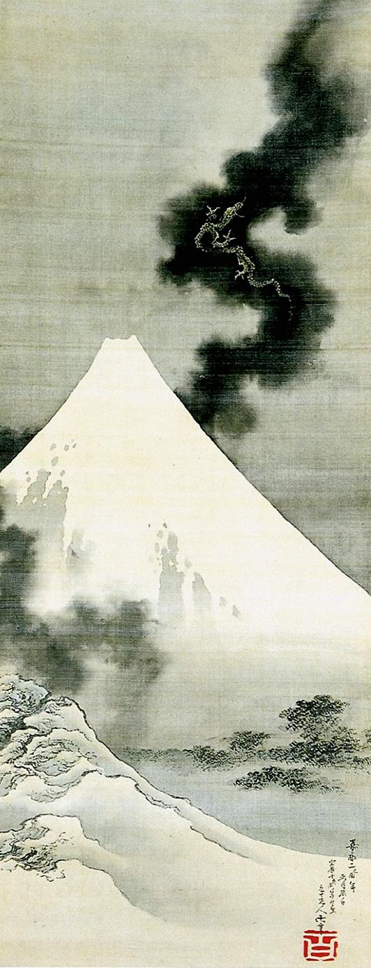 Dragon rising above Mt Fuji. Hanging scroll, ink and slight colour on silk, 1849. Hokusaikan, Obuse