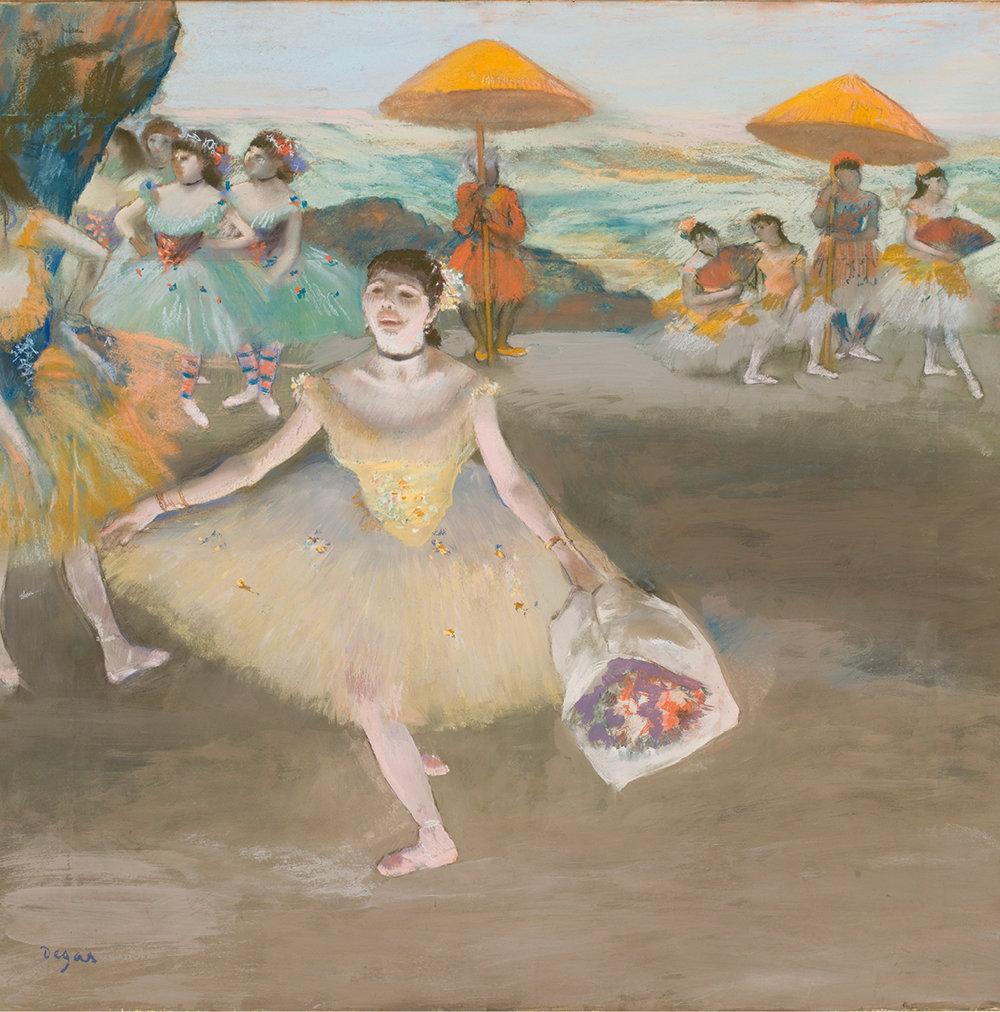 Edgar Degas (1834-1917) · Danseuse au bouquet, saluant sur la scène, 1878. Pastel sur papier marouflé sur toile, 72 x 77,5 cm. Paris, musée d'Orsay, RF 4039. © Musée d'Orsay Dist. RMN- Grand Palais / Patrice Schmidt.