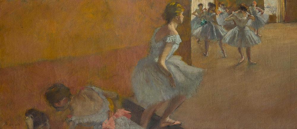 Edgar Degas (1834-1917) · Danseuses montant un escalier. Entre 1886 et 1890. Huile sur toile, 39 x 89.5 cm. Paris, musée d'Orsay, RF 1979. © RMN-Grand Palais (Musée d'Orsay) / Stéphane Maréchalle.