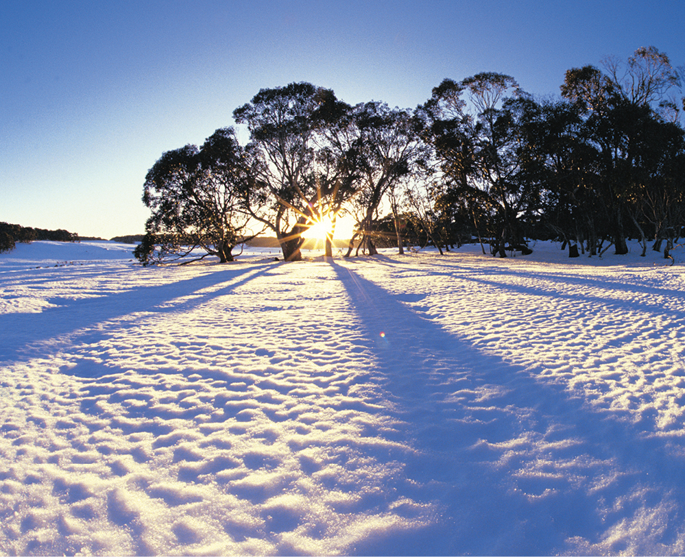 Sunset in the snow. Wonnangatta National Park.  © Paddy Pallin, Jindabyne. Tourism Australia.