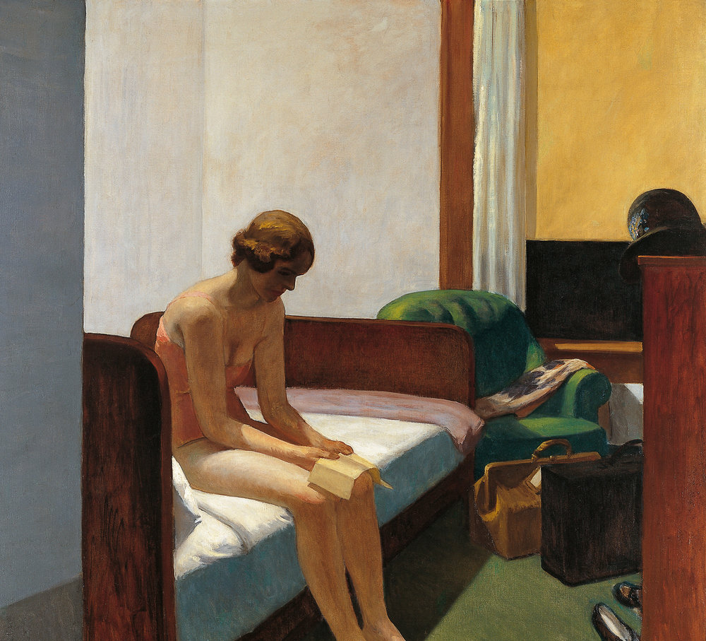 Edward Hooper.  Hotel Room , 1931. 152,4 x 165,7 cm. Museo Thyssen-Bornemisza, Madrid.