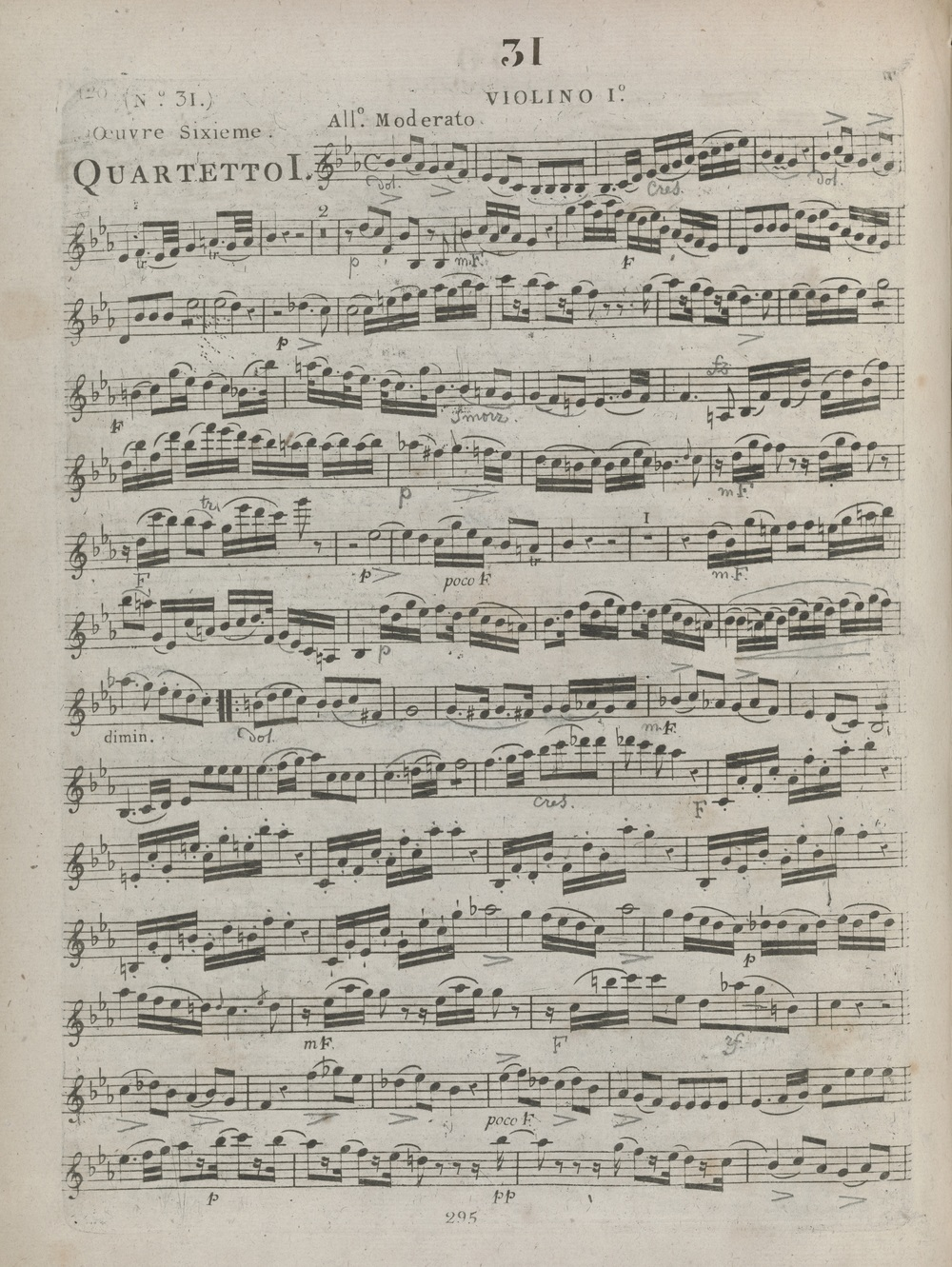 First edition of Haydn's Op. 20 no. 1