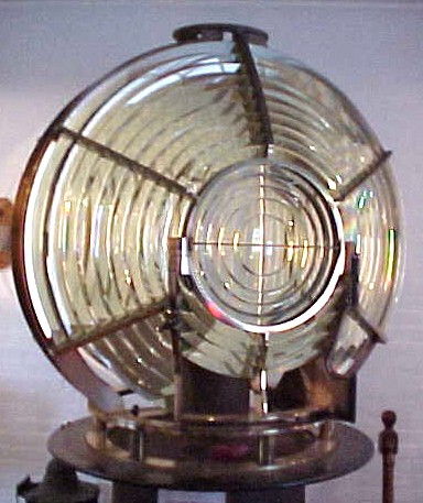 Fresnel lens on display at the Montauk Point Lighthouse